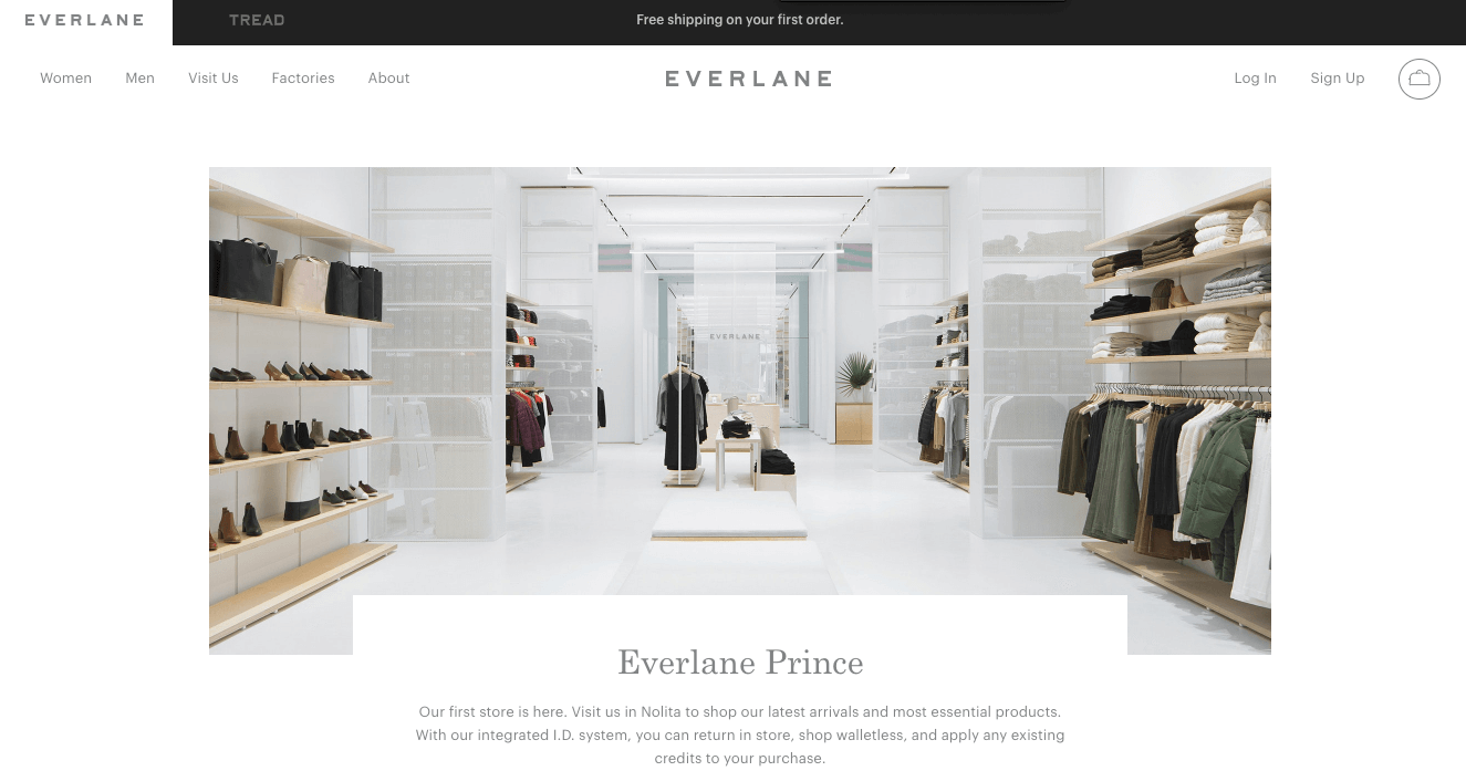 Everlane's brick and mortar store page