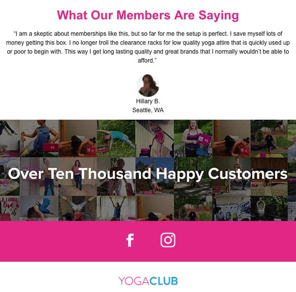 social commerce - yoga club social proof