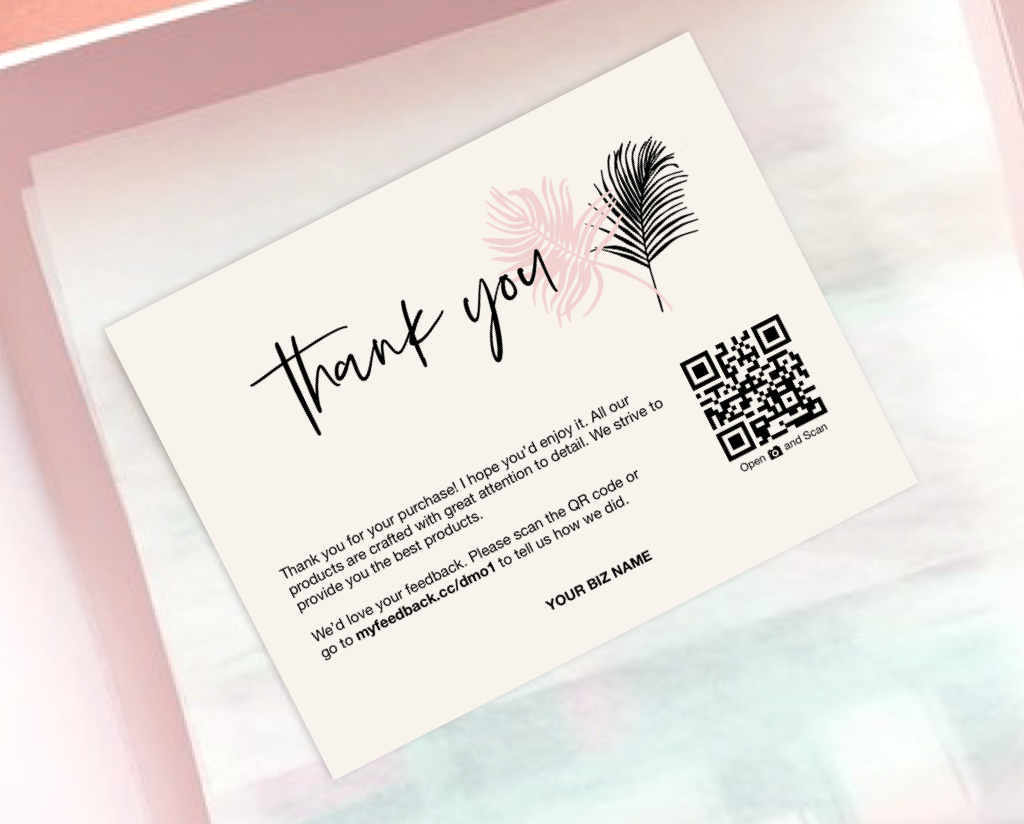 order packaging loyalty - QR code thank you note