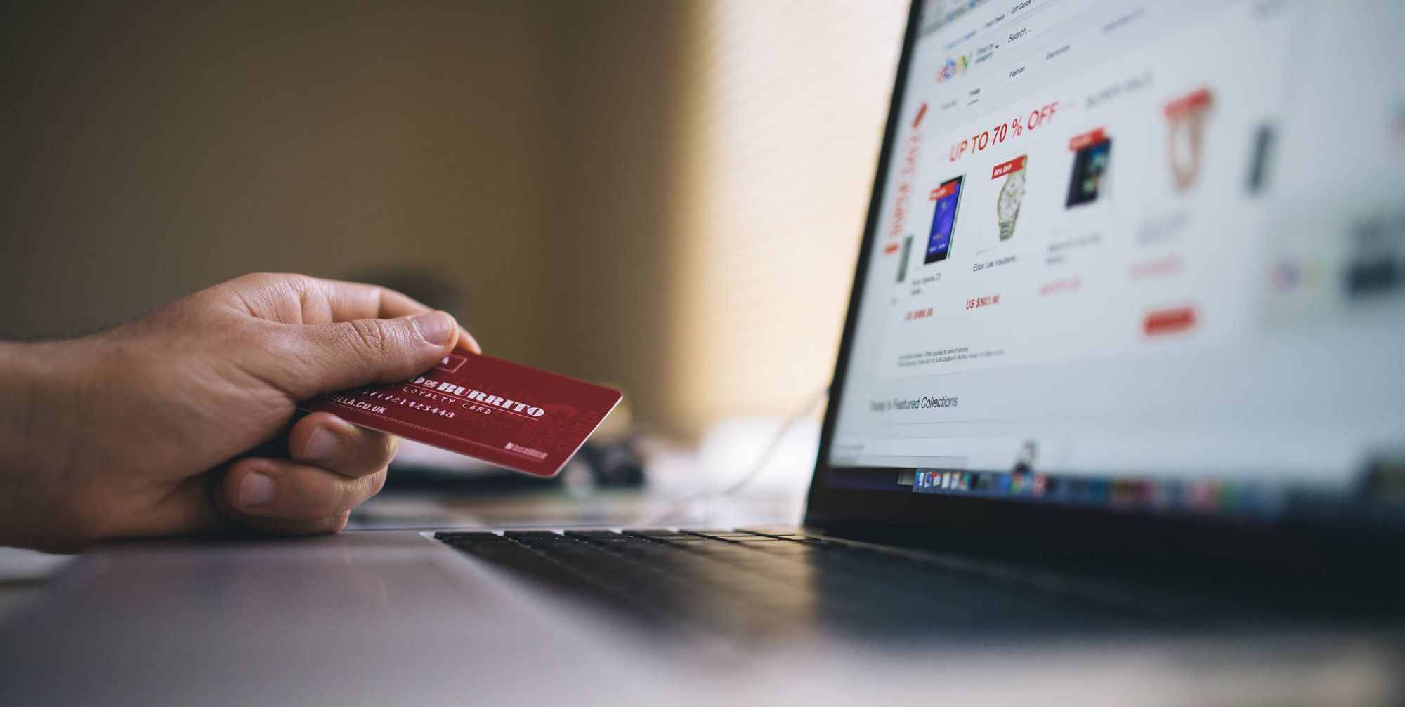 Customer using credit card for ecommerce