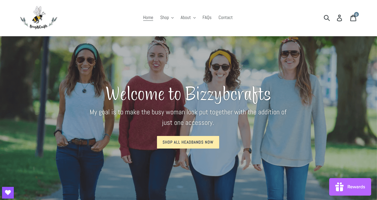 women ecommerce brands - bizzyb crafts homepage