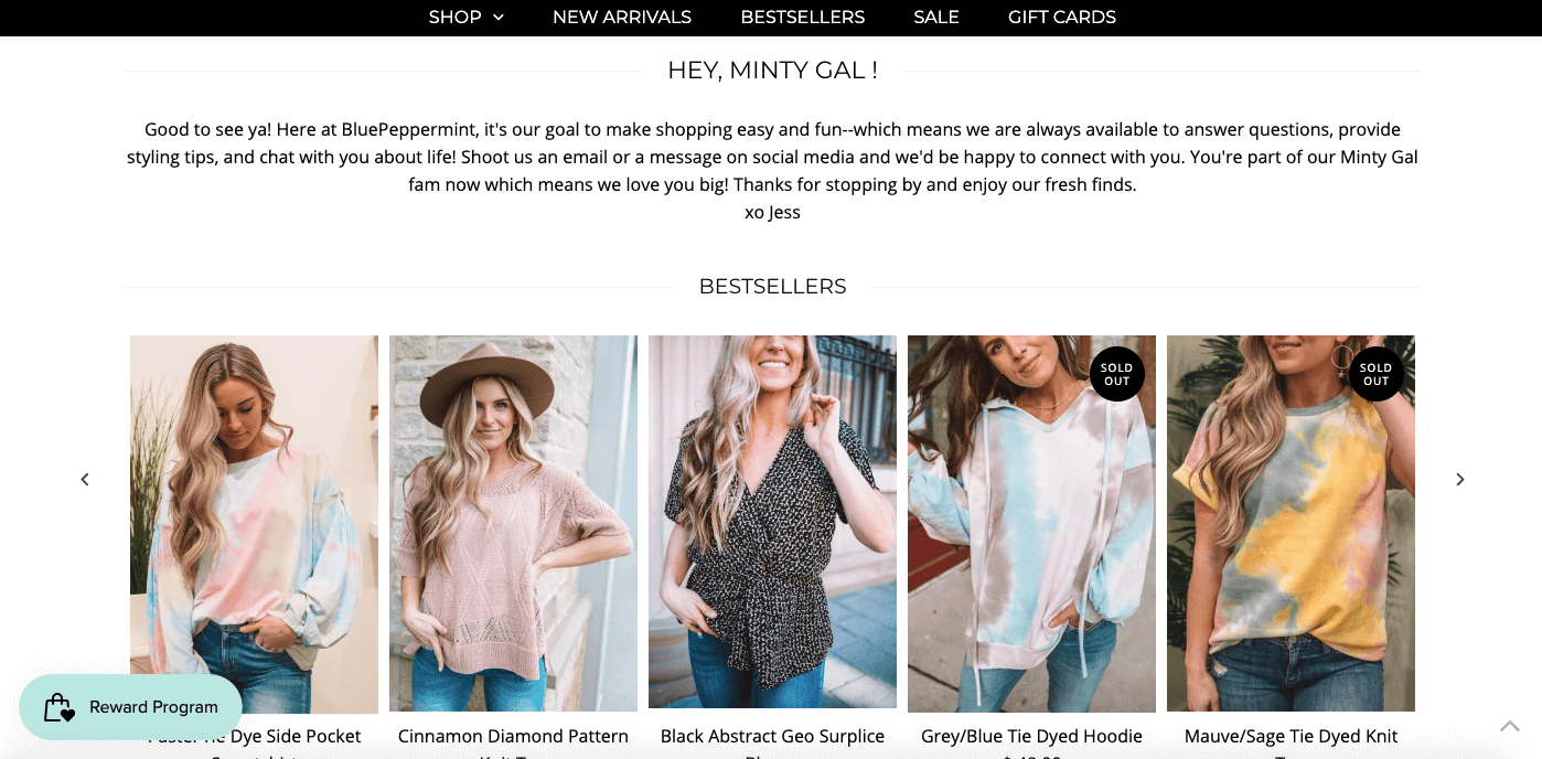 women ecommerce brands - blue peppermint boutique greeting