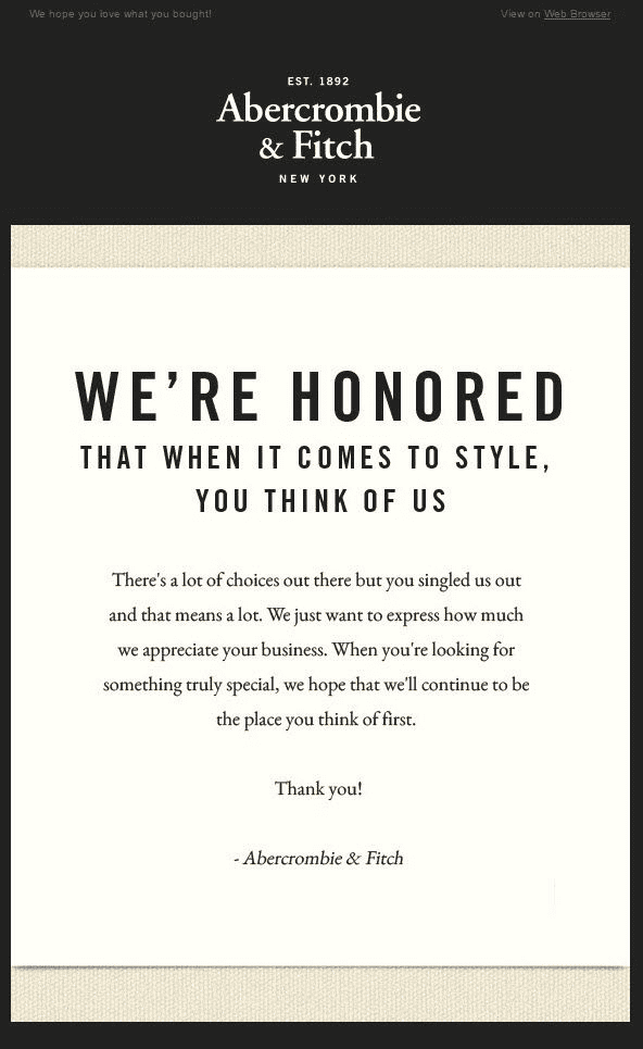Post-purchase emails - Abercrombie and Fitch - thank you