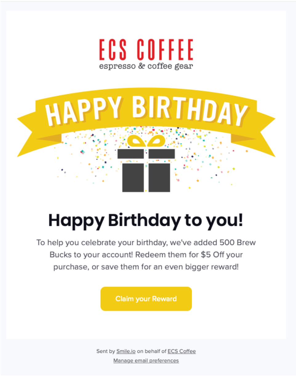 ECS Coffee email example