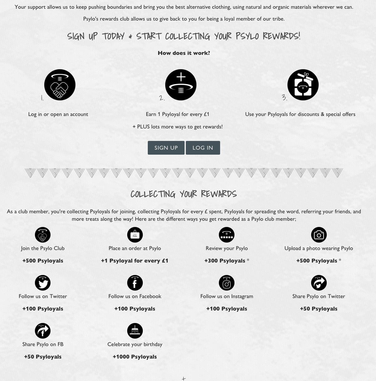 Psylo Fashion Rewards page