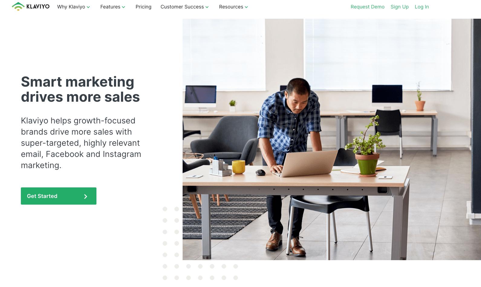 Klaviyo homepage 2020