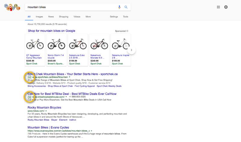 brand awareness paid ad mountain bikes