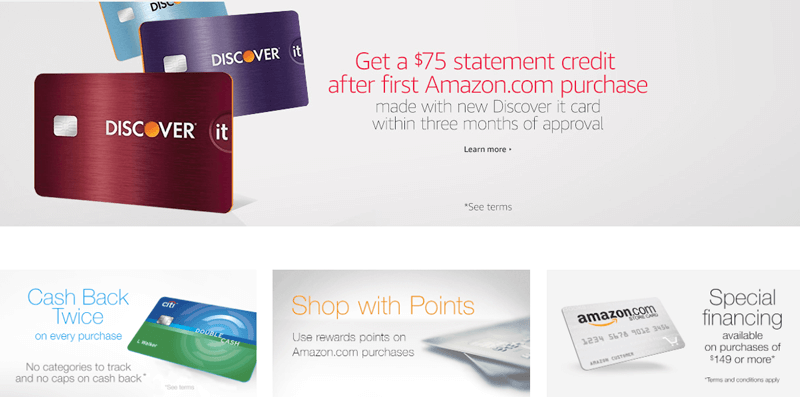 amazon prime credit card cards list