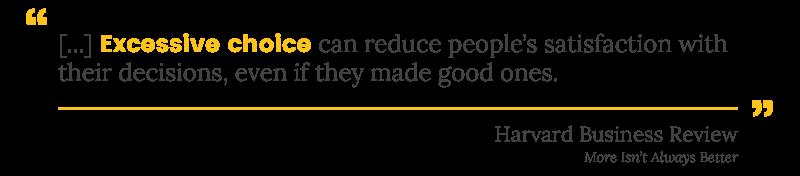 customer segmentation pragmatics excessive choice HBR quote