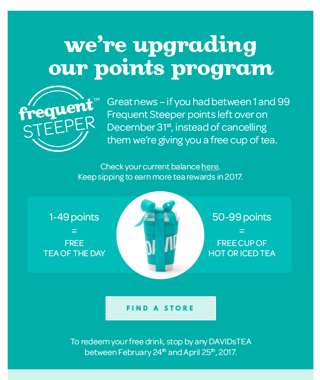 davidstea frequent steeper program changes email