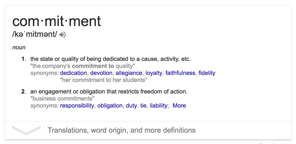 customer commitment definitions