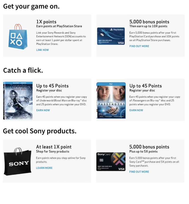 sony rewards overview