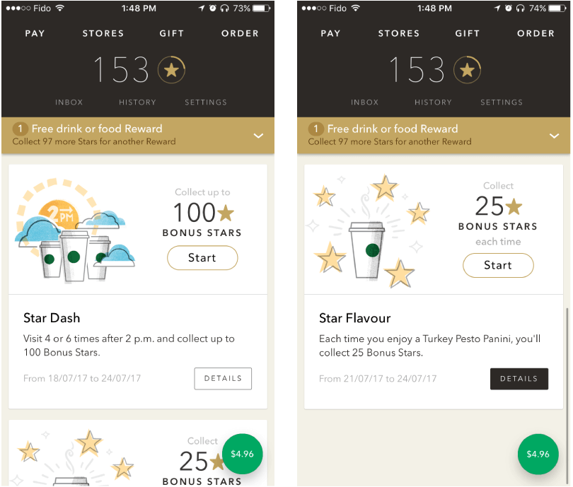 Starbucks mobile rewards app
