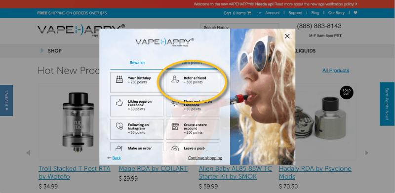 ecig loyalty program examples vapehappy modal