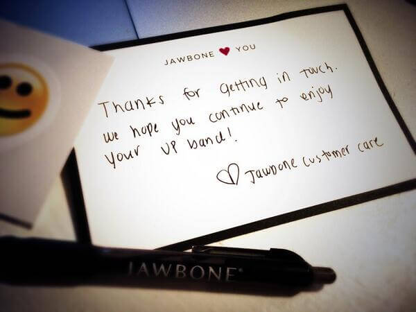 retain customers jawbone thank you