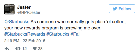 starbucks new loyalty program tweet 1