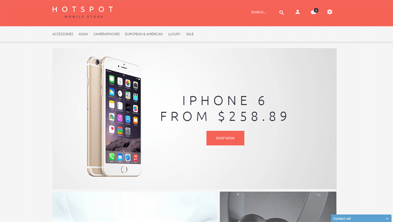 ecommerce homepage mobile shop theme