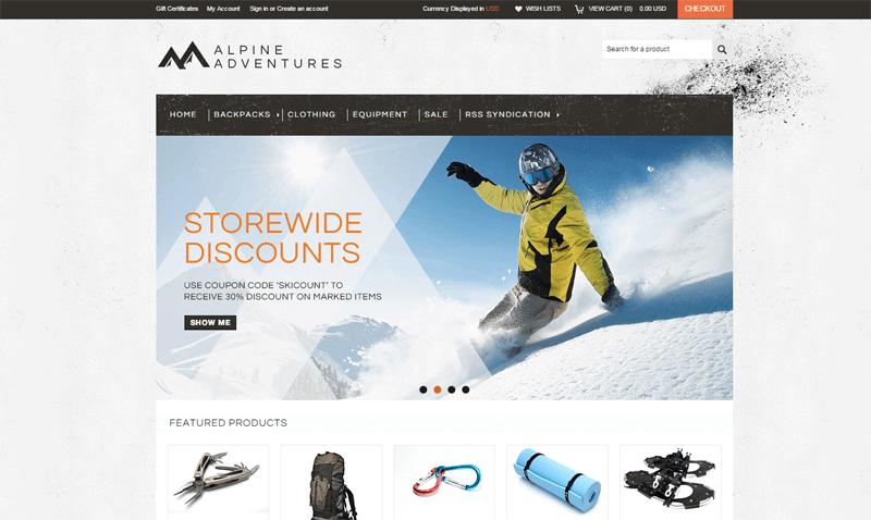 ecommerce homepage outdoor adventures