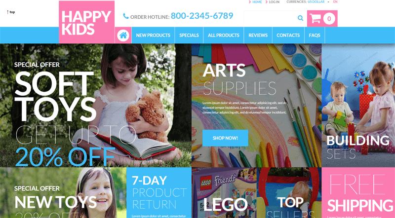 ecommerce homepage happy kids