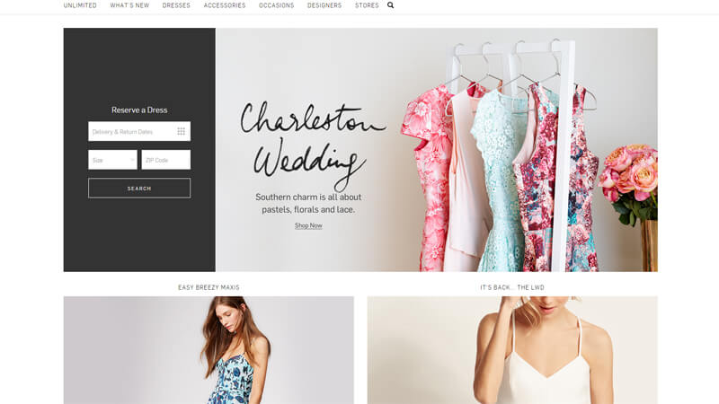 ecommerce homepage rent the runway