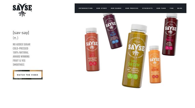 ecommerce homepage savse smoothies